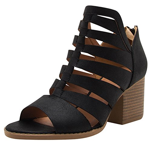 Cambridge Select Womens Open Toe Caged Cutout Chunky Stacked Block Heel Ankle Bootie Black Pu TuRxxbGr3l