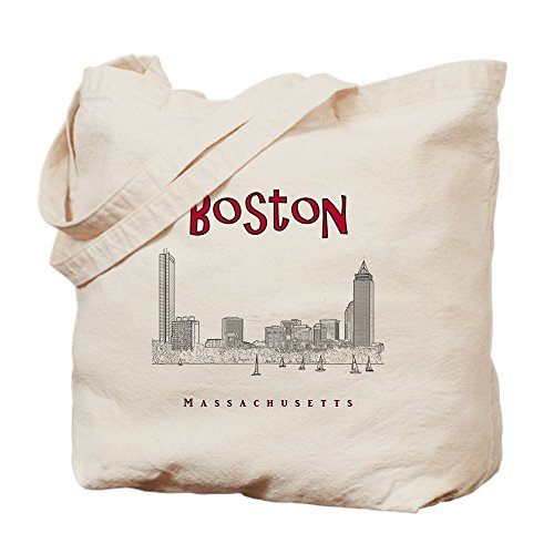(CafePress - Boston_10X10_Skyline_Blackred - Natural Canvas Tote Bag, Cloth Shopping)