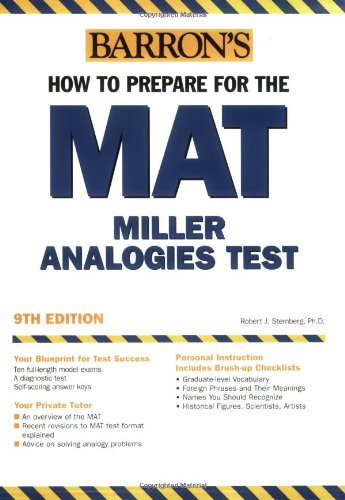 Pdf Test Preparation Barron's How to Prepare for the MAT: Miller Analogies Test, 9th Edition