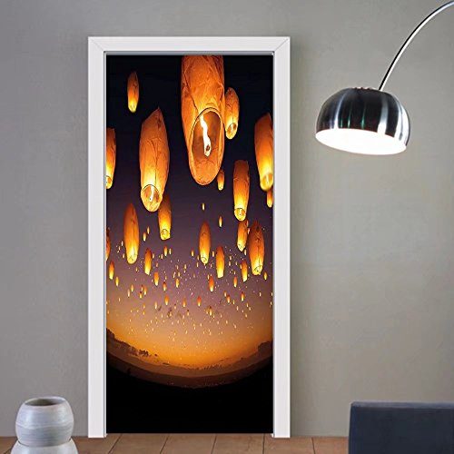 Gzhihine custom made 3d door stickers Night Sky Asian Ceremony Wish for Luck Balloons Chinese Flying Lanterns Scenery Image Orange and Black For Room Decor 30x79 by Gzhihine