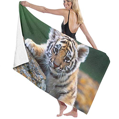 KUYTZDCUTE Beach Towels Cute Baby Tiger Large Beach Blanket Towel Ultra Soft Highly Absorbent Bath Towel Oversized 52