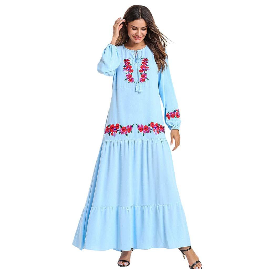 MyBatua Abaya Printed Flower Jilbab Islamic Clothing Maxi Muslim Dress Light Blue