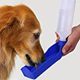 Pecute® Portable Pet Dog Cat Travel Water Drink Bottle Bowl Dispenser Feeder Plastic Foldable Pet Dog Cat Travel Water Drinking Feeder Bottle Bowl Random Color-Christmas Gift