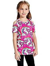 Little Girls Short Sleeve Cold Shoulder Top 3-12T