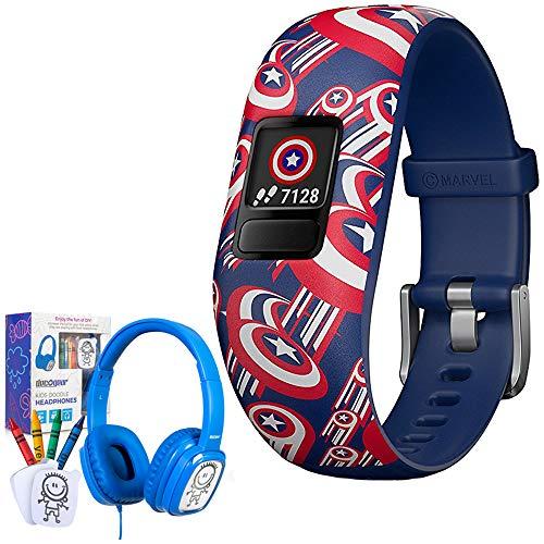 - Garmin Vivofit jr. 2 Adjustable Captain America Activity Tracker for Kids (010-01909-32) with Bonus Deco Gear Kids Safe Ears Headphones