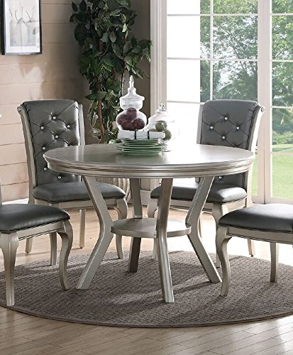 Poundex F2150 Liboria Antique Silver Rubber Wood Round Dining Table