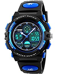 Watch Kid's Watches Boys Analog Digital Quartz Sport Electronic Military Dual Time Waterproof LED Back Light 164Ft 50M Water Resistant Calendar Alarm Stopwatch Multifunction (Blue)