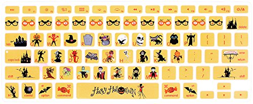 HRH Silicone Keyboard Cover Skin for MacBook Air 13,MacBook Pro 13/15/17 (with or w/Out Retina Display, 2015 or Older Version)&Older iMac USA Layout,Happy Halloween -