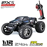 Hosim 1:12 Scale High Speed 38km/h RC Car 9112 with 2.4Ghz Radio Controlled, All Terrain Off-Road RTR 2WD Remote Control Electric RC Monster Truck Hobby Buggy, Best Gift for Kids and Adults - Blue