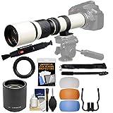 Vivitar 500mm f/8.0 Telephoto Lens (T Mount) (White) & 2X Teleconverter (=1000mm) + 3 Color Flash Diffusers + Monopod Kit for Nikon Digital SLR Camera