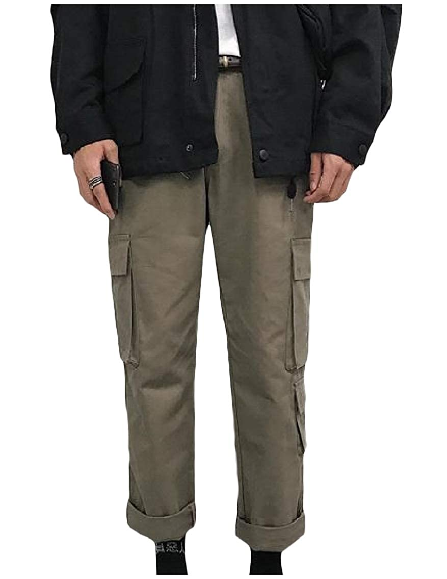 Godeyes Mens Straight Fitted Washed Multi-Pocket Cargo Pants Casual-Pants