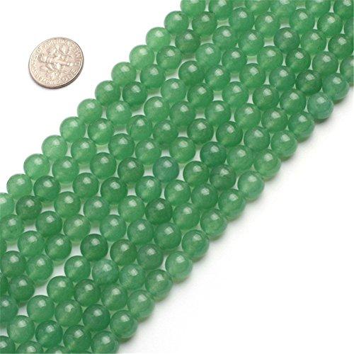 Round Jade Gemstone (8mm Round Gemstone Green aventurine Jade Beads Strand 15 InchJewelry Making Beads)