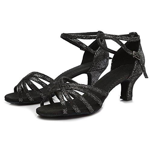 niñas Ballroom De Baile Negro 1810 Satén Zapatos Estándar Brillante Mujer Es 5cm Modelo Latino tacón dnpqfF0dc