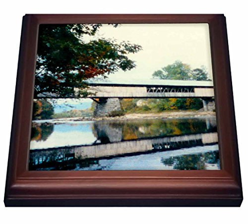 3dRose trv_31839_1 Covered Bridge And Foliage In The Fall In Vermont Trivet with Ceramic Tile 8 x 8