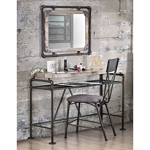 Furniture of America Revo Industrial Antique Black Framed Wall-Mount Mirror by Furniture of America