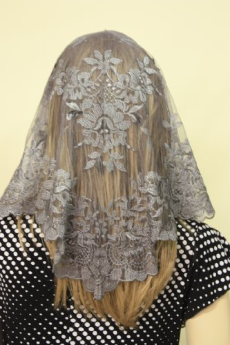 silver-grey-spanish-style-veil-mantilla-catholic-church-chapel-scarf-lace-mass-large-sgsp
