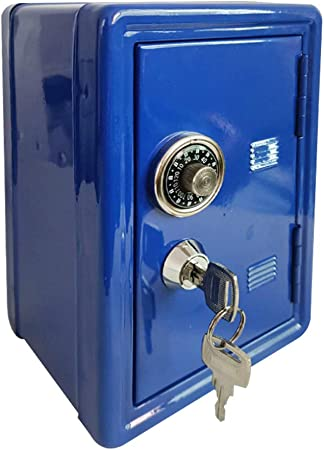 OSISTER7 - Caja de efectivo con bandeja para dinero, pequeña caja fuerte con llave, caja de seguridad para guardar la contraseña, No nulo, azul, Tamaño libre: Amazon.es: Hogar