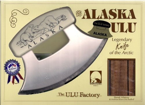 7'' Inupiat Style Cultured Ivory Handled Ulu with Walnut Stand (Etched Polar Bears)