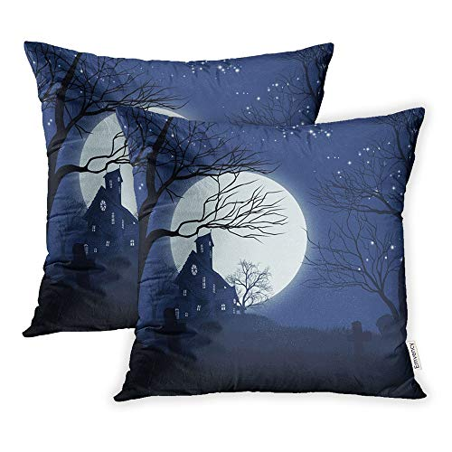 Emvency Set of 2 Throw Pillow Covers Cases Hallowen Halloween Spooky Haunted House Graveyard Haloween Dracula Gost 18