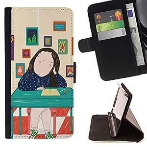Pintura abstracta Señora Arte- Modelo colorido cuero de la carpeta del tirón del caso cubierta piel Holster Funda protecció Para Apple iPhone 5C