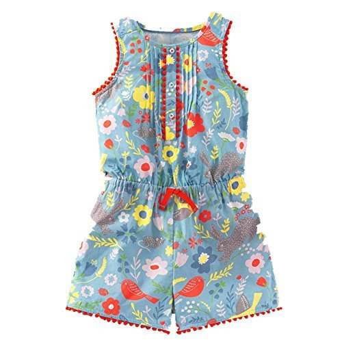 Frogwill Toddler Girls Pretty Print Romper Summer Playsuit Soft Bluebell Field 3T