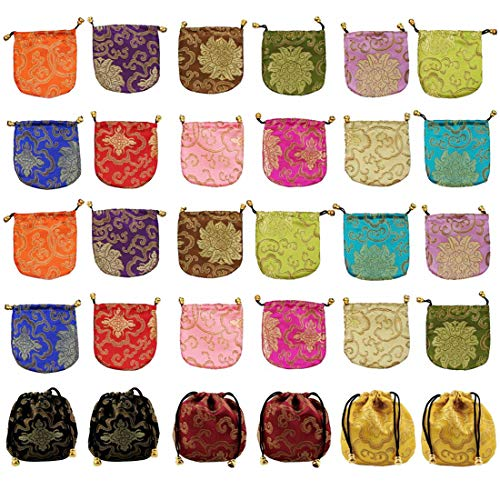 (kilofly Chinese Silk Brocade Drawstring Jewelry Pouch Bag Value Set, 30 pcs)