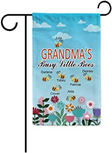 KafePross Grandma's Busy Little Bees Flowers Spring Summer Decorative Garden Flag Put Your Grandkid's Name Seven 12.5X18 Inch Print Double Sided