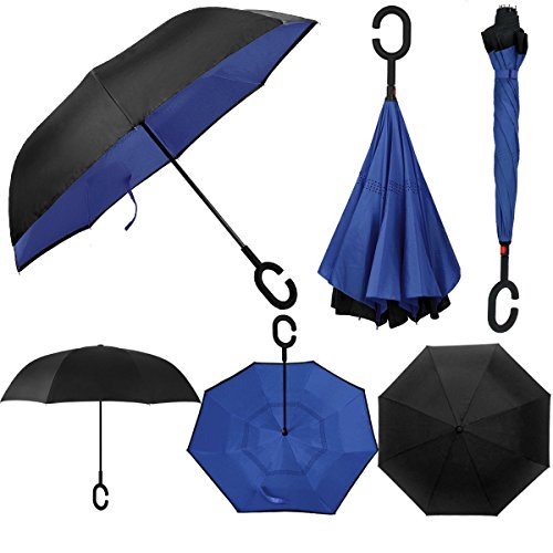 Swisstek Double Layer Reversible Smart Umbrella Quick Dry Technology Dual Layer Design UV Protection Layer Windproof & Waterproof Stands On Its Own Convenient C Grip