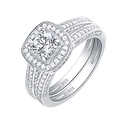 Square Cubic Zirconia Bridal Rings - Newshe Engagement Wedding Ring Set for Women 925 Sterling Silver Round 2.3Ct White AAA Cz Size 7
