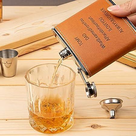 Petaca Alcohol Cuero Personalizados Copa de Vino,5.75oz. Juego de matraces de 170 ml Adecuado para llevar Whisky,Vodka,Hijo a papá 2 Tazas Portátil Regalo para Hombres