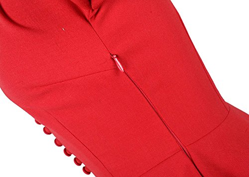 Avacostume Chic Col Polo Décontracté Manches Courtes Robes Longues Rouge Vintage