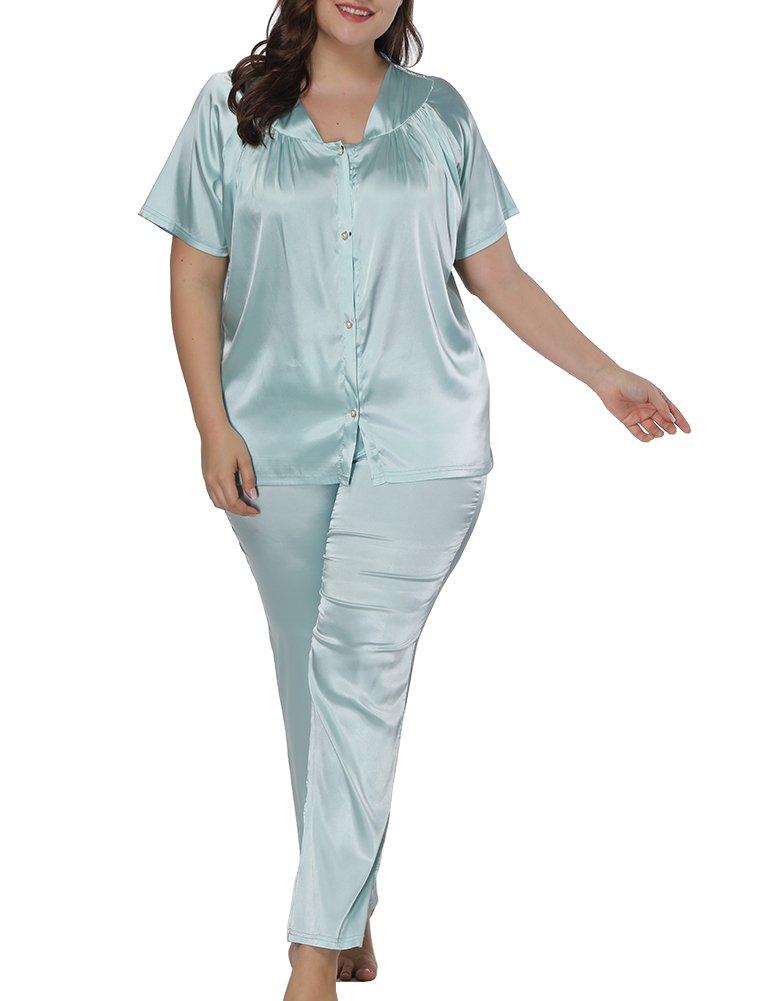Allegrace Women Plus Size Short Sleeve 2 Piece Pajama Sets Button Down Sleepwears Light Blue 4X