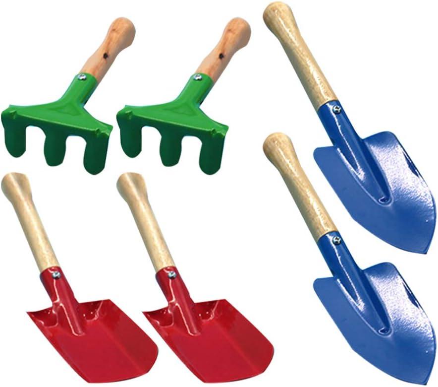 BESPORTBLE Kids Garden Tool Wooden Handle Mini Gardening Tools Trowel Shovel Rake Set for Children Girls Kids Boys 6 Pcs