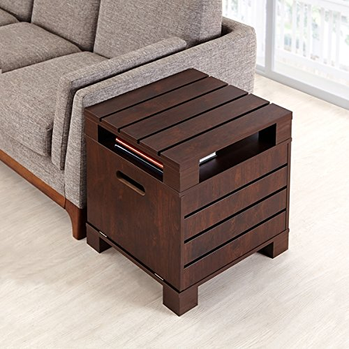 ModHaus Living Vintage Casual Design Wood Side Accent Table in Espresso Finish - Includes (TM) (Adirondack Rustic Log Furniture)