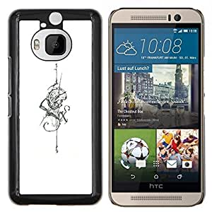 YiPhone /// Prima de resorte delgada de la cubierta del caso de Shell Armor - blanco de seis serpiente tinta cráneo espada tatuaje - HTC One M9Plus M9+ M9 Plus