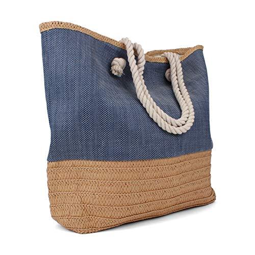 (Tote Bag - Beach Bag - Beach Tote - Large Tote Bag with Rope Handles - Rutledge & KingTM Waverly Designer Tote Bag - Straw Tote)