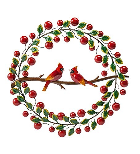 Wind & Weather Cardinals and Berries Metal Door Wreath - Holiday Home Decor - 22.75 Diam. x 1.75 ()