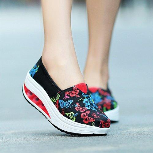 Femmes Respirante amp;g Chaussures Casual Butterfly Ngrdx Pour Toile Sport Black De En Baskets Femme vOIvWFagn