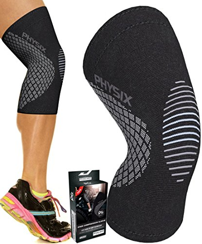 Physix Gear Knee Support Brace - Premium Recovery & Compression Sleeve For Meniscus Tear, ACL, MCL Running & Arthritis - Best Neoprene Stabilizer Wrap for Crossfit, Squats & Workouts (Single - Faster Again Apparel