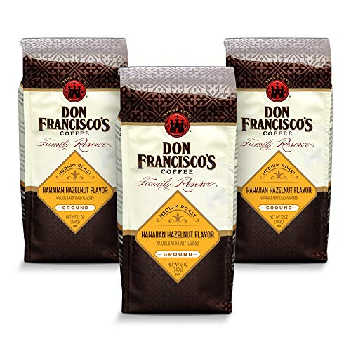 Don Francisco's Hawaiian Hazelnut Flavored, Ground Coffee, 100% Arabica, (3 x12-ounce - Ground Hawaiian