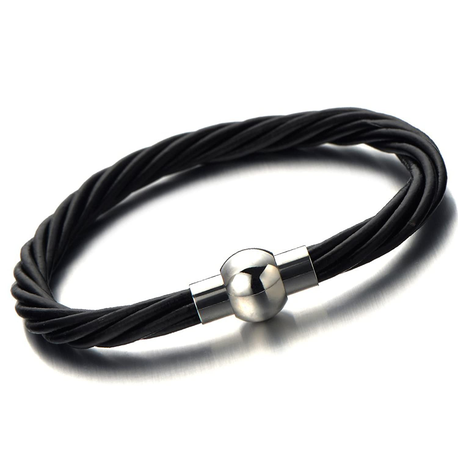NEW Twisted Black Leather Bangle Bracelet for Men Women Genuine Leather Wristband with Magnetic Clasp