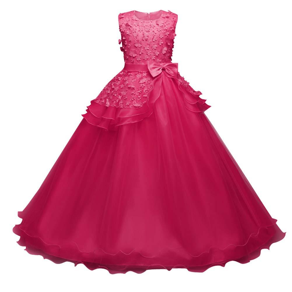 Happy Cherry 4-14Y Girls Flower Princess Pageant Dress Wedding Fluffy Prom Ball Gown