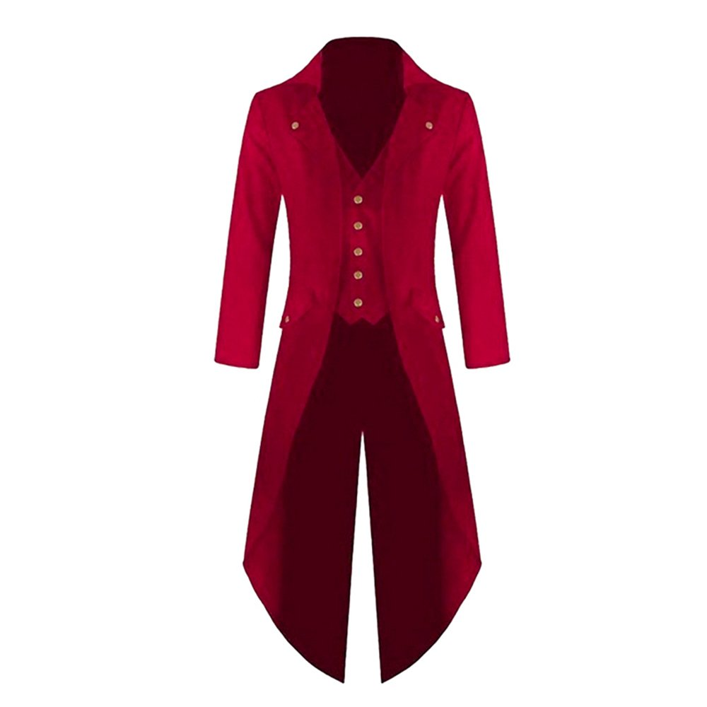 Ducarsel Men Vintage Steampunk Tuxedo Uniform Tailcoat Gothic Victorian Jacket