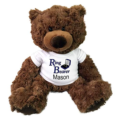 (Personalized Ring Bearer Teddy Bear - 13 Inch Coco Bear)