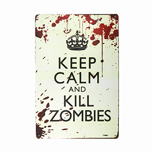 dingleiever DL-Pub,bar,Home Wall Decor Souvenir Hanging Metal Tin Sign Plate Plaque (Keep Calm and Kill Zombies) -