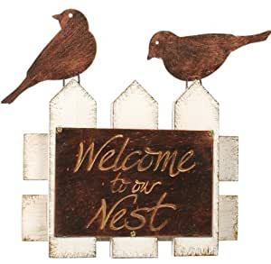 Grasslands Road Metal Welcome to Our Nest Wall Plaque, 8-Inch, Set of 2