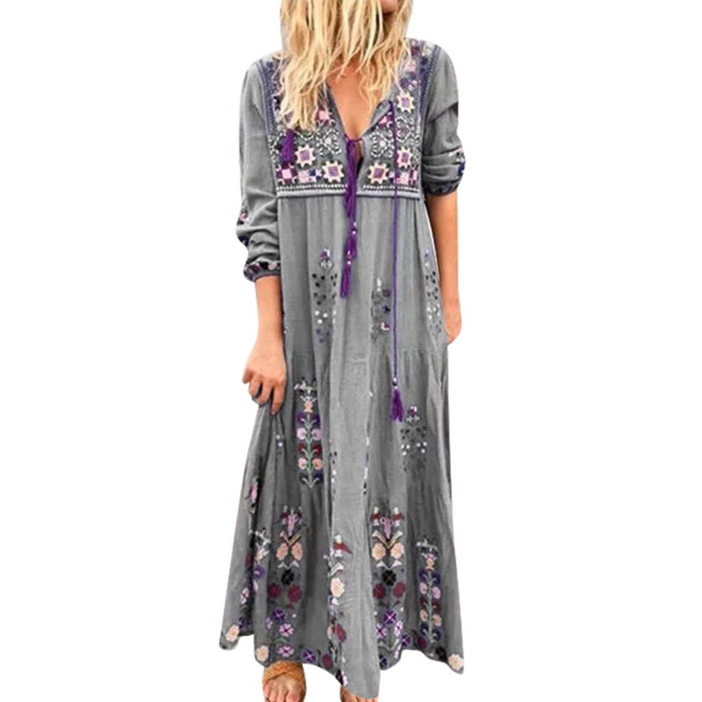 Jieou Women Boho Dress Plus Size V Neck Print Lace Up Long Sleeve Casual Loose Maxi Dresses (Gray, XXXL) by Jieou