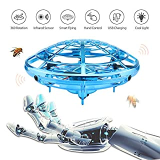 Ehihas Hand Operated Drone, Flying Toys for Kids Mini UFO Drone with 2 Speed, Great Flying Drone Gift for Boys/Girls, Flying Ball Drone Easy Indoor Outdoor Toys(Blue)