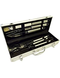 Buy 5 PC Stainless BBQ Barbecue Grill Outdoor Kitchen Utensil Tool Kit Set FREE CASE compare