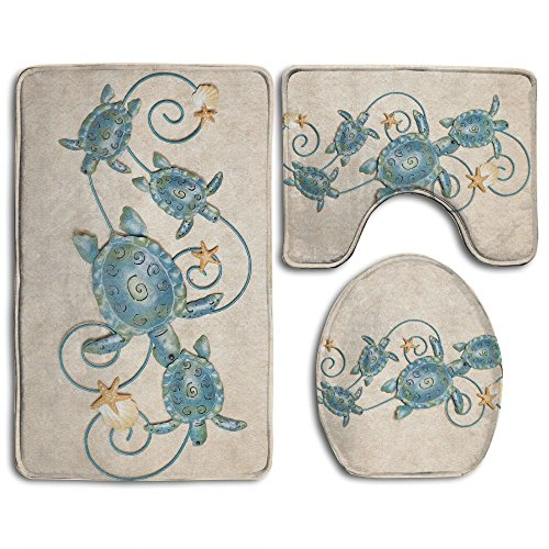 (HOMESTORES Ocean Friends Sea Turtle Skidproof Toilet Seat U Shape Cover Bath Mat Lid Cover 3 Piece Non Slip Bath Rug Mats Sets For Shower SPA)